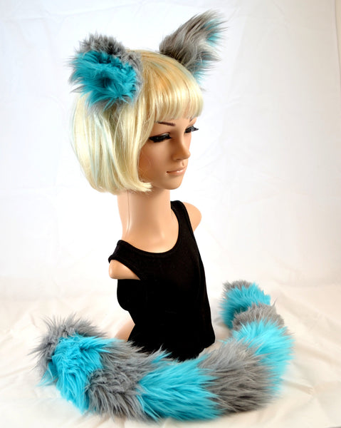 Cat Ear Tail Clip On Faux Fur Set in Blue and Gray - Morphe