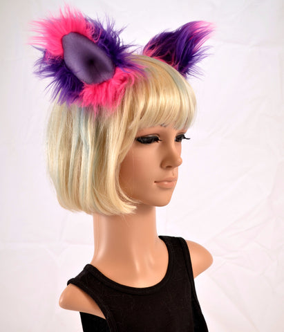 Cat Clip On Ears in Pink and Purple Faux Fur - Morphe