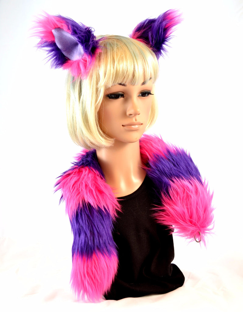 Cat Ear Tail Clip On Faux Fur Set in Pink and Purple - Morphe