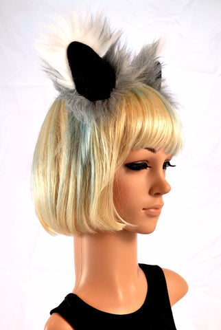 Gray and White Ears Clip On Faux Fur - Morphe