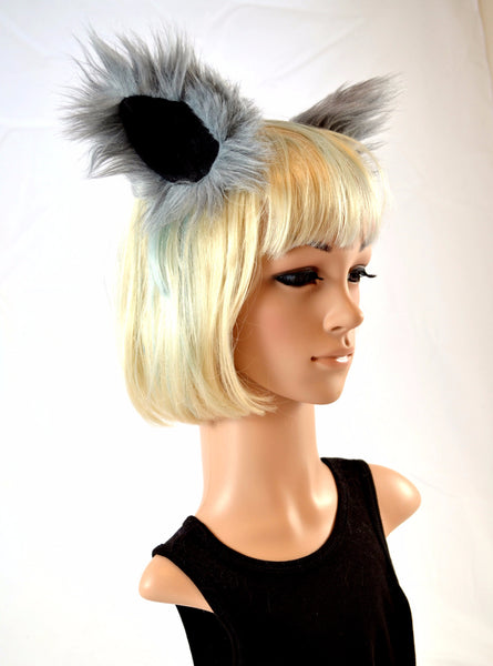 Gray Wolf Clip On Ears in Faux Fur - Morphe