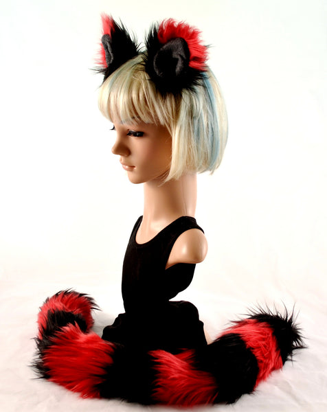 Kitty Cat Ear Tail Faux Fur Clip On Set in Red and Black - Morphe