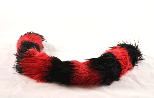 Cat Tail Black with Red Stripes Faux Fur - Morphe