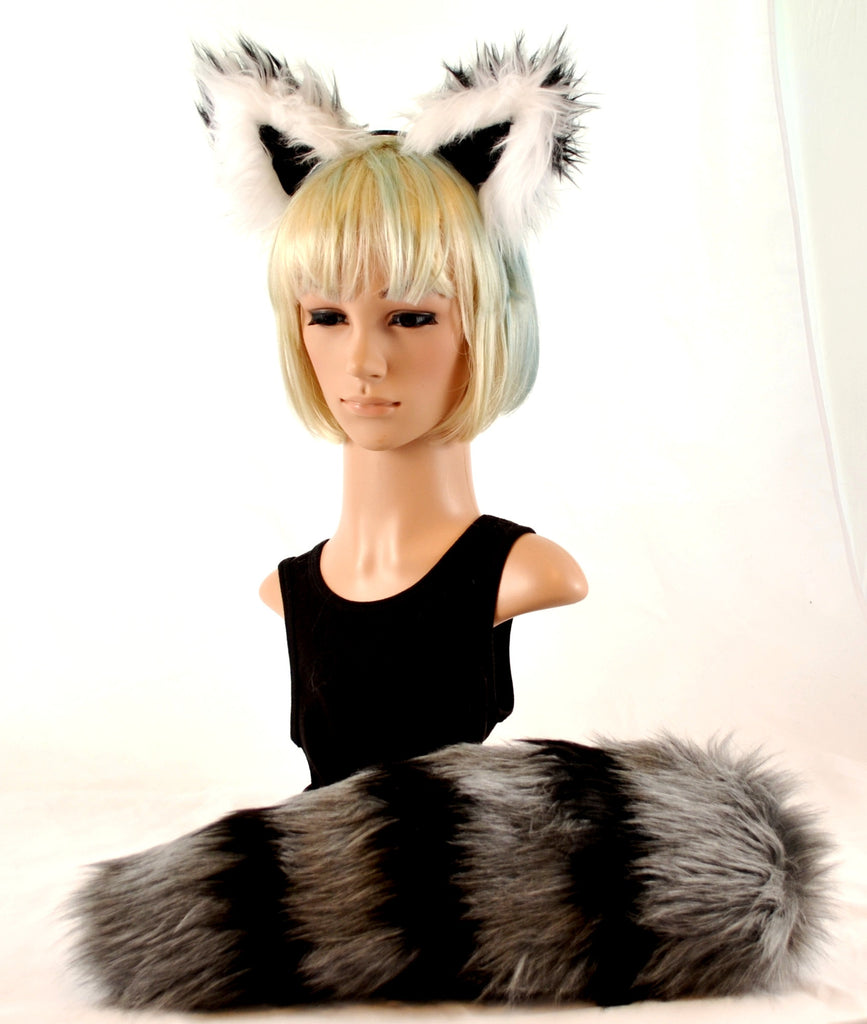 Raccoon Headband Ears and Tail Set in Gray and Black Faux Fur - Morphe
