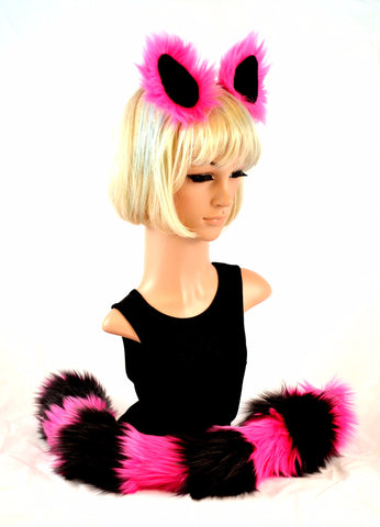 Cat Ear Tail Faux Fur Clip On Set in Pink and Black - Morphe