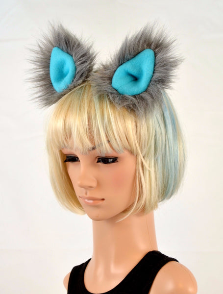 Cat Clip On Ears in Gray Faux Fur with Blue Fleece - Morphe