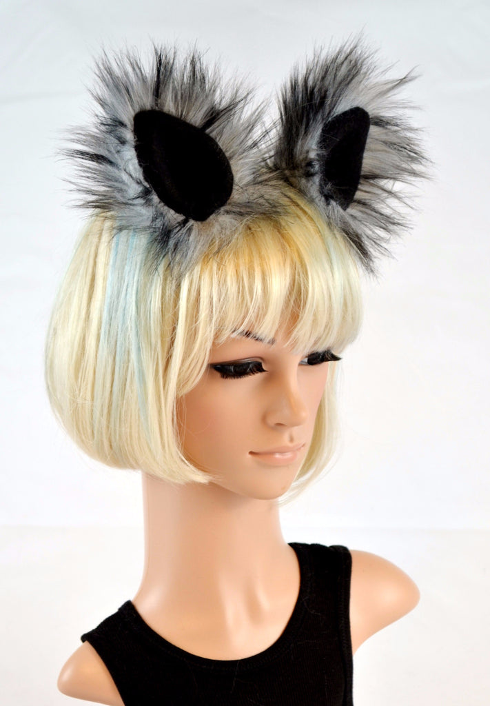 Dark Wolf Clip On Husky Ears in Faux Fur - Morphe