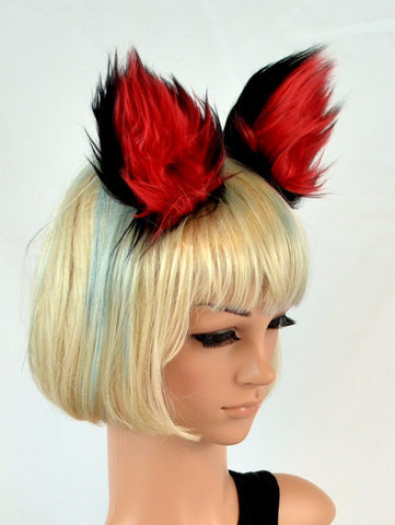 Clip On Cat Ears in Red and Black Faux Fur - Morphe