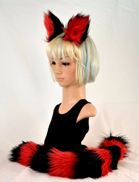 Kitty Cat Ear Tail Clip On Faux Fur Set in Red and Black - Morphe