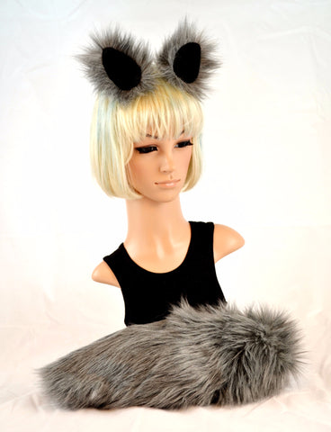 Gray Wolf Ear Tail Clip On Faux Fur Set - Morphe