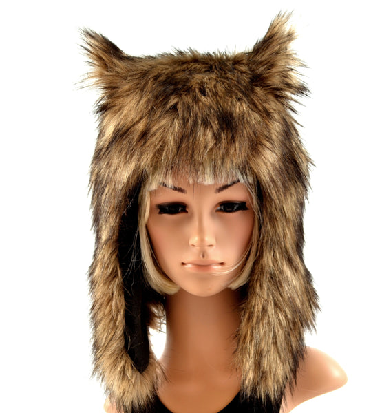 Brown Wolf Hat Faux Fur Werewolf - Morphe