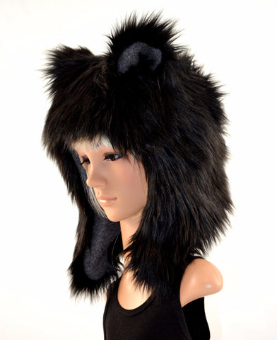 Black Bear Hat Faux Fur Handmade - Morphe
