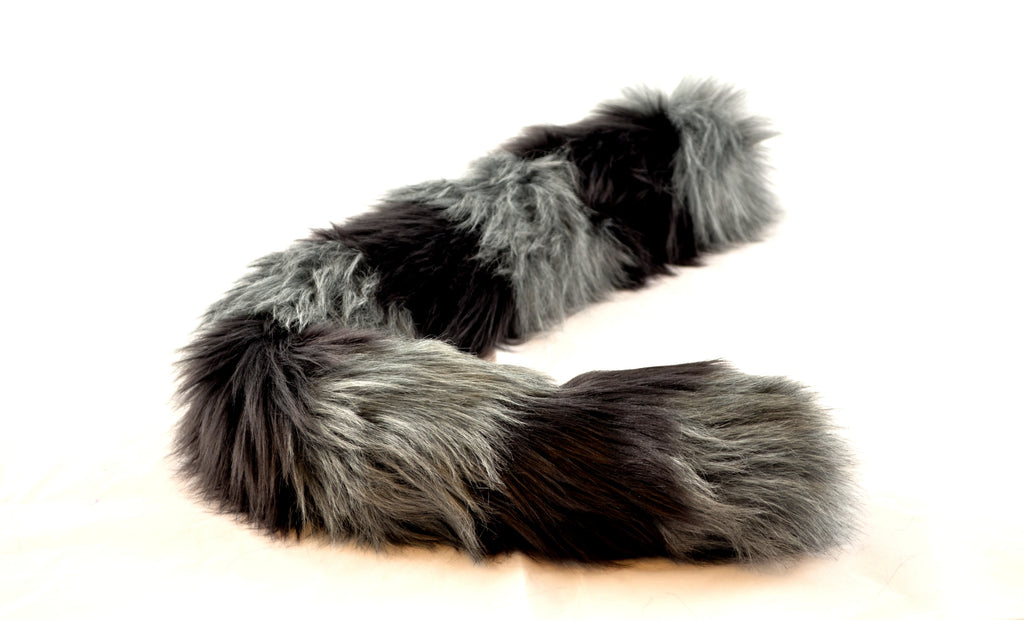 Gray Cat Tail with Black Stripes Faux Fur - Morphe
