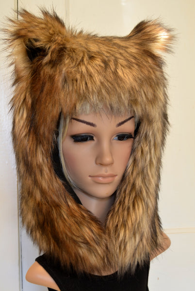Brown Bear Hat Faux Fur Grizzly Animal Hood - Morphe