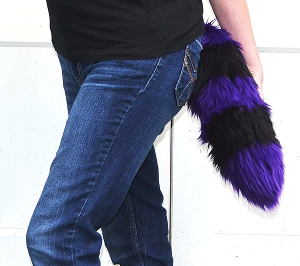 Purple Tail with Black Stripes Faux Fur 18 inch - Morphe