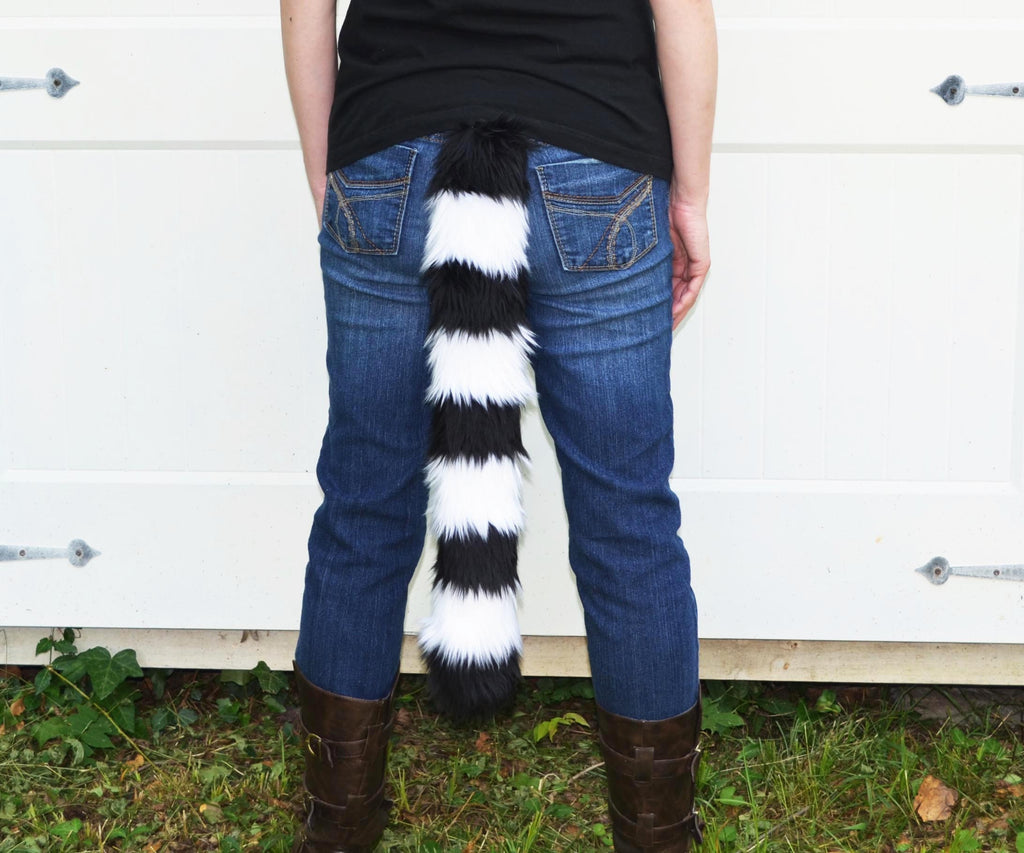 Lemur Tail Black with White Stripes Faux Fur - Morphe