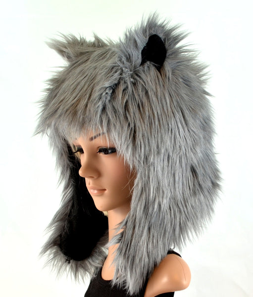 Gray Wolf Hat Faux Fur Animal Hood - Morphe