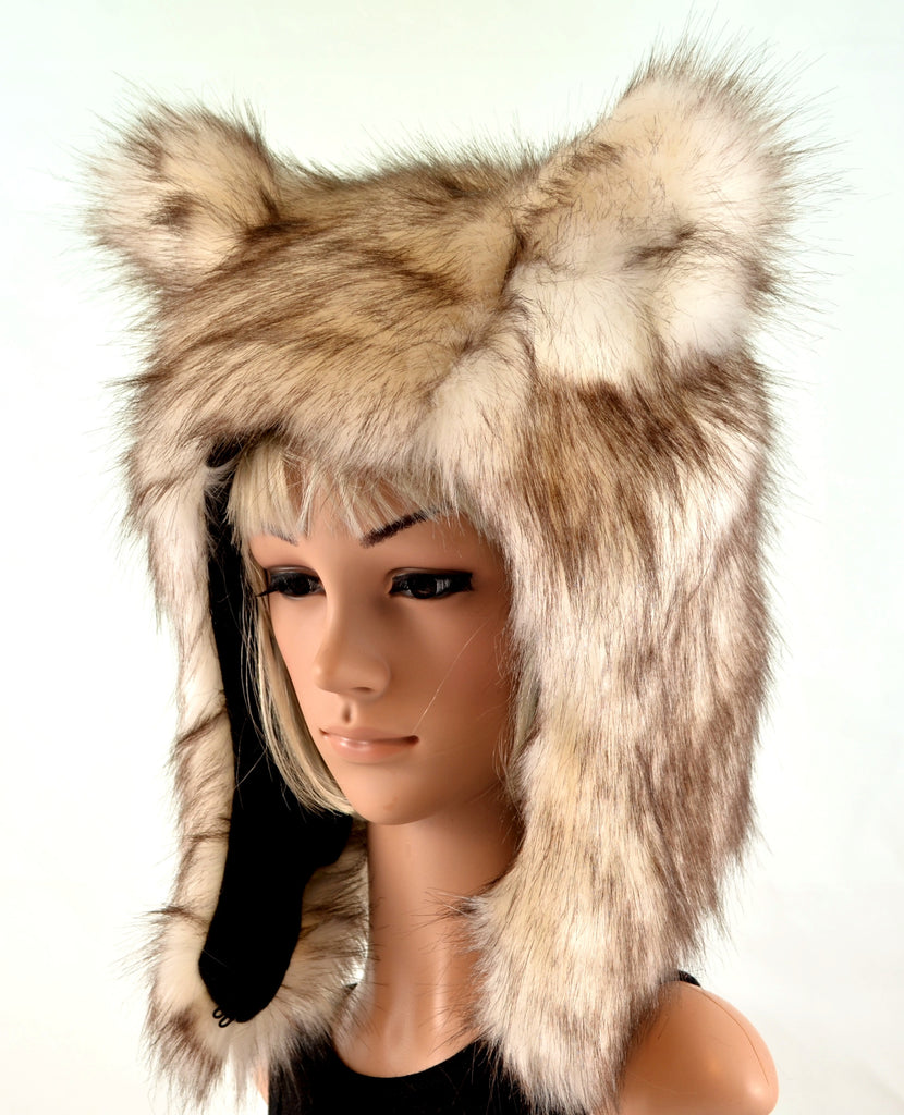 Brown Wolf Husky Animal Hat in Faux Fur - Morphe