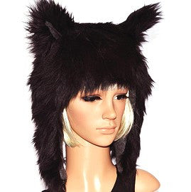 Black Wolf Hat Faux Fur Animal Hood - Morphe