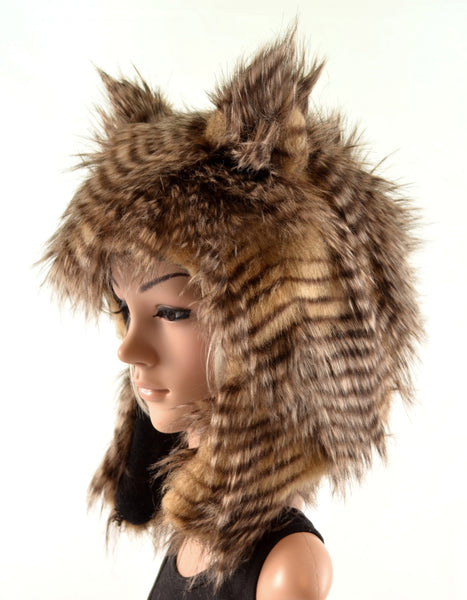 Brown Owl Hat in Faux Fur Handmade - Morphe