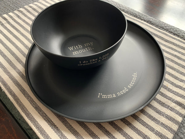 Black Plastic Plate and Bowl Set- 1000 Crunches a Day