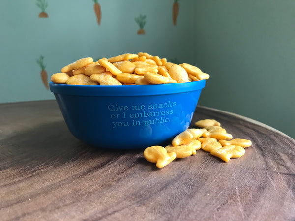 Give Me Snacks or I Embarrass You in Public Kids Plastic Snack Bowl-Blue