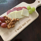I Will Cut You Cutting Board and Cheese Knife Gift Set