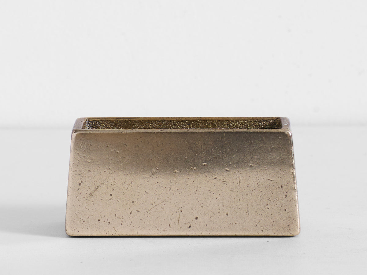 Brass Coaster Holder with Tan Coaster Set