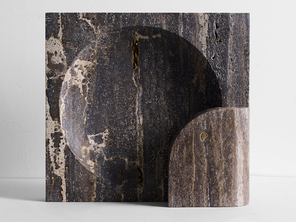 Block Sconce Black Travertine