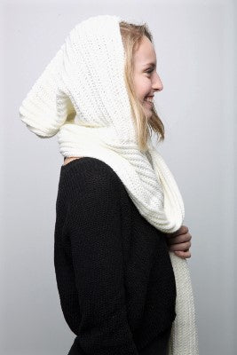 Hooded Scarf - White