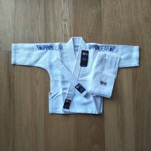 Load image into Gallery viewer, Ippongear single weave kids judo gi with blue embroidery