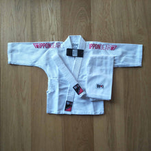 Load image into Gallery viewer, Single weave kids judo gi with pink embroidery for girls