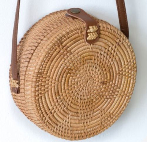 Open Weave Round Rattan Purse - 220mm