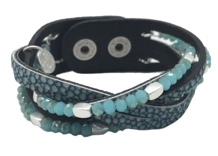 Blue Woven Leather Bracelet Mix with Beads
