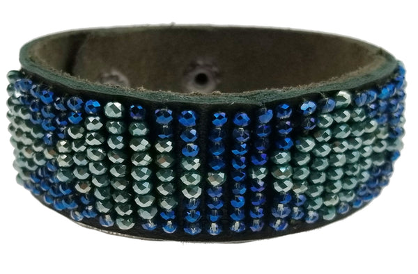 Olive Green Leather Bracelet with Blue/Green Beads