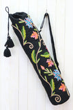 Embroidered Botanical Floral Yoga Bag