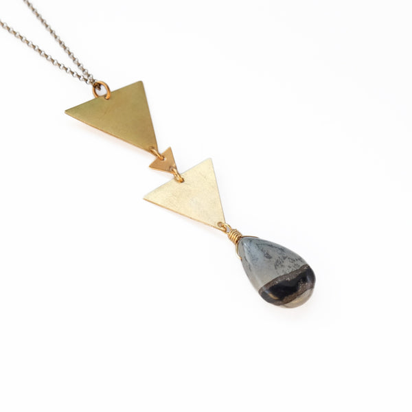 Triangles with Stone Drop Necklace