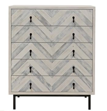 Chevron Tall 5 drawer dresser