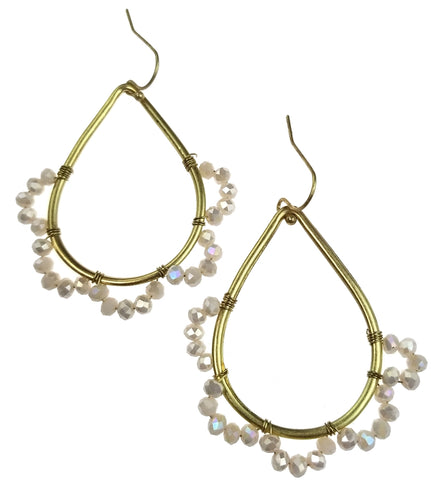 Gold Tear Hoop with Off-White Beads