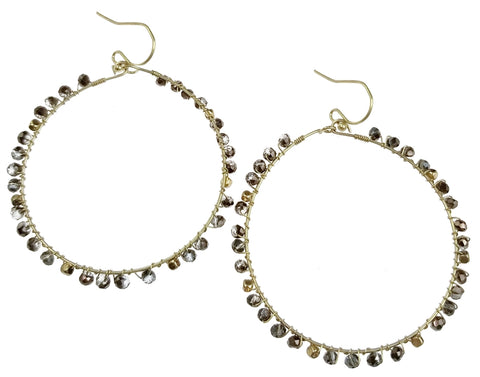 Gold Wire Hoop with Bronze Beads