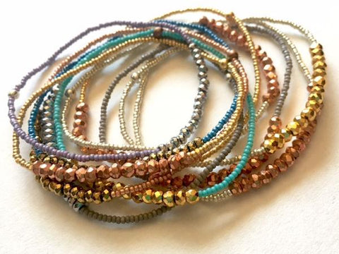 Pyrite n Seeds Stacking Bracelets