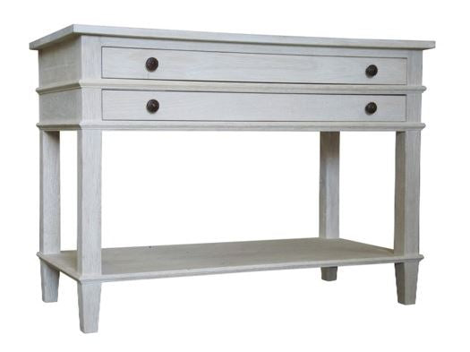 Washed oak 2 Drawer Nightstand in Gray