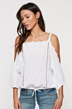 Boho Eyelet Trim Cold Shoulder Top