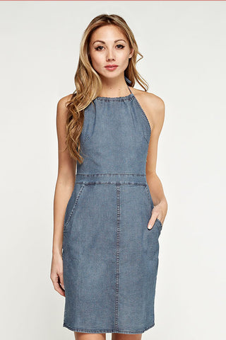 Lightweight Cotton Denim Apron Dress
