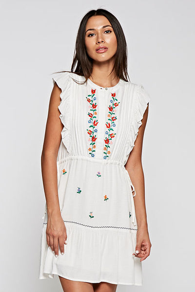 Embroidered Short Tiered Dress.
