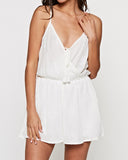 Embroidered Surplice Front Romper