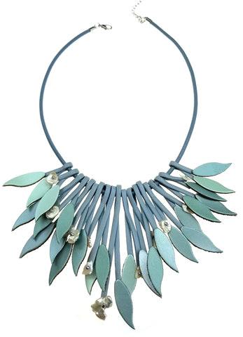 Seafoam Blue Leather Leaves with Fresh Water Pearl