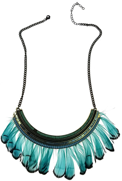 Antique Bronze with Turquoise Blue Feathers & Aqua Beads