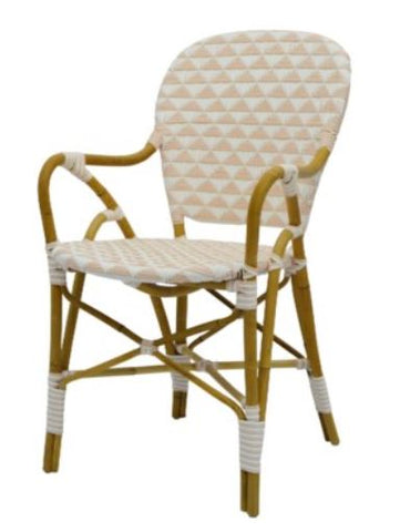 Pinnacles Side Chair with round arms - White/Blush