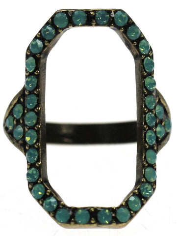 Antique Bronze Rectangle Cut Out with Pacific Opal Crystals